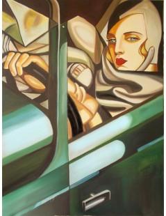 Tytuł: Autoportret w zielonym Bugatti, Autor: Tamara de Lempicka
