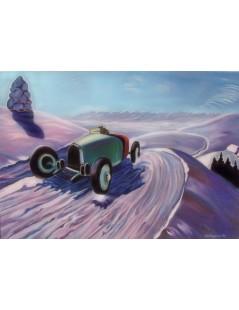 Auto na tle pejzażu zimowego