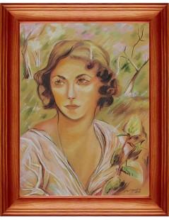 Portret Damy z różą