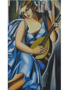 Kobieta w niebieskiej sukni z mandoliną