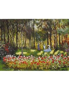 Artysta z rodziną w ogrodzie