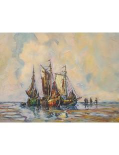 Tytuł: Łodzie rybackie na brzegu, Autor: Rudolf Priebe