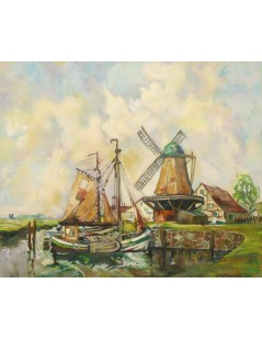 Tytuł: Łodzie i wiatraki, Autor: Rudolf Priebe