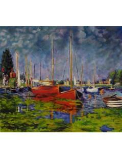 Tytuł: Claude Monet, Czerwone łodzie w Argenteuil, Autor: Claude Monet