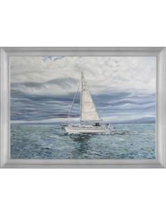 Tytuł: Jacht- pejzaż morski - ręcznie malowany, Autor: Emilia Czupryńska