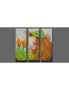 Tryptyk abstrakcja Dziewczyna z tulipanem