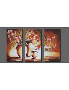 Tryptyk kwiaty Róże w wazonach