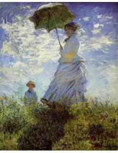 Kobieta z parasolką i dzieckiem, przechadzka