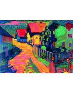 Tytuł: Ulica w Murnau z kobietą, Autor: Wassily Kandinsky