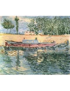 Brzeg Sekwany z łodziami