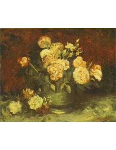 Czara z piwoniami i różami