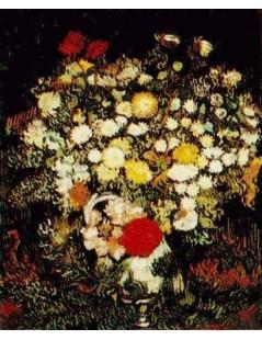 Chryzantemy i polne kwiaty w wazonie