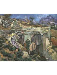 Tytuł: Wejście do kamieniołomu w pobliżu Saint-Romy, Autor: Vincent van Gogh