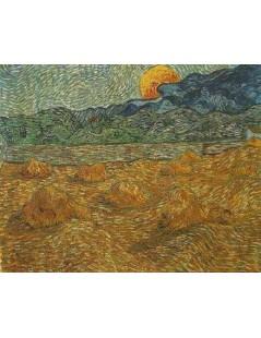 Tytuł: Wieczorny pejzaż z księżycem, Autor: Vincent van Gogh