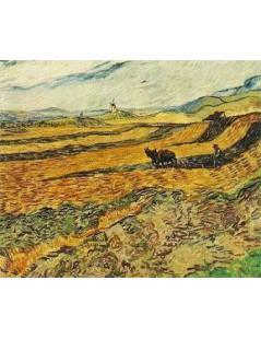Tytuł: Pole z oraczem i młynem, Autor: Vincent van Gogh