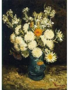 Kwiaty w niebieskim wazonie