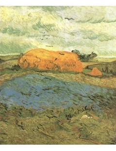 Tytuł: Stogi siana pod deszczowym niebem, Autor: Vincent van Gogh