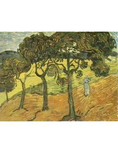 Krajobraz z drzewami i postacią