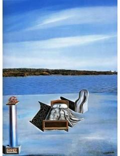 Tytuł: Surrealistyczna kompozycja z niewidocznymi postaciami, Autor: Salvador Dali