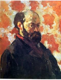 Tytuł: Autoportret na czerwonym tle, Autor: Paul Cezanne