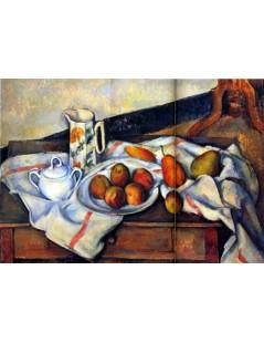 Tytuł: Cukiernica, dzbanek i talerz z owocami, Autor: Paul Cezanne