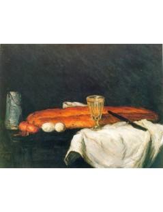 Martwa natura z dzbankiem, chlebem, jajkami i kieliszkiem