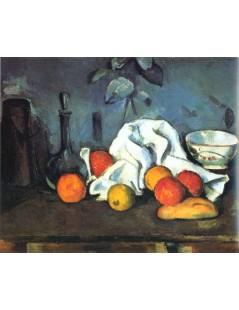 Tytuł: Naczynia, owoce i ścierka, Autor: Paul Cezanne