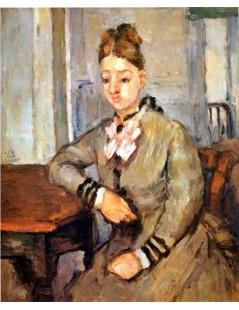 Tytuł: Pani Cezanne oparta o stół, Autor: Paul Cezanne