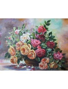 Tytuł: Bukiet kwiatów w wazonie, róże., Autor: Emilia Czupryńska