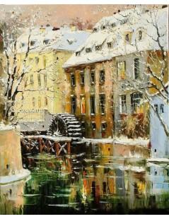 Tytuł: Pejzaż zimowy z młynem, Autor: Nieznany