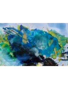 Tytuł: Burzowe niebo i kropelki - abstrakcja - duży obraz, Autor: Emilia Czupryńska