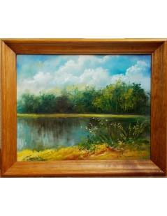 Tytuł: Pejzaż nad jeziorem, Autor: Emilia Czupryńska