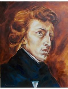 Tytuł: Fryderyk Chopin, portret  wg pędzla E. Delacroix, Autor: Emilia Czupryńska
