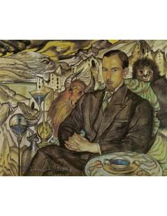 Portret Włodzimierza Nawrockiego, na tle kompozycji pejzażowej