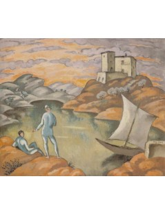 Tytuł: Pejzaż z żeglarzami, Autor: Eugeniusz Zak