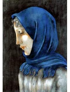 Kobieta w błękitnej chuście
