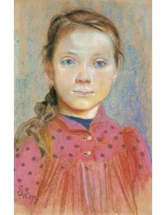 Portret dziewczynki w czerwonej sukience