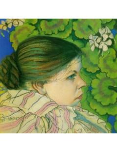 Portret żony z pelargoniami