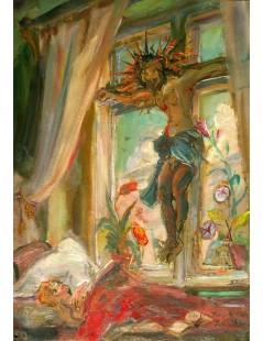 Chrystus rozpięty na oknie