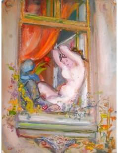 Kobieta siedząca w oknie