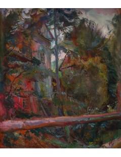 Pejzaz z powalonym drzewem