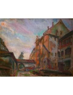 Tytuł: Pejzaż miejski z bramą, Autor: Kasper Pochwalski