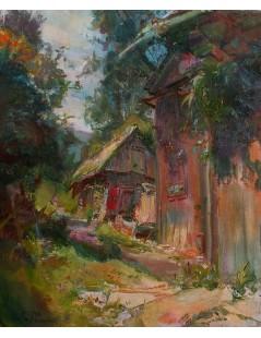 Tytuł: Pejzaż wiejski, Autor: Kasper Pochwalski