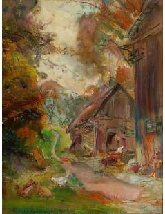 Tytuł: Pejzaż z chatką, Autor: Kasper Pochwalski