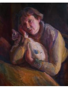 Tytuł: Portret matki z kotem, Autor: Kasper Pochwalski