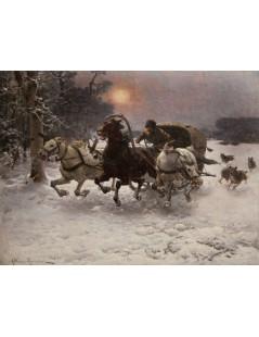 Tytuł: Ścigani przez wilki, Autor: Alfred Wierusz Kowalski