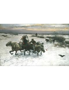 Tytuł: Konie poniosły, Autor: Alfred Wierusz Kowalski