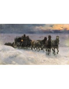 Tytuł: Nocą przez śniegi, Autor: Alfred Wierusz Kowalski