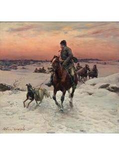 Tytuł: O zmierzchu przez śniegi, Autor: Alfred Wierusz Kowalski