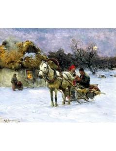 Tytuł: W zimowy wieczór, Autor: Alfred Wierusz Kowalski